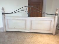 DUCAL 5ft solid wood painted headboard with iron decoration