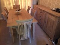Housing Units Solid Oak Dining Table, Six Chairs and Sideboard