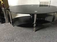 Black glass TV Stand, coffee table & side table