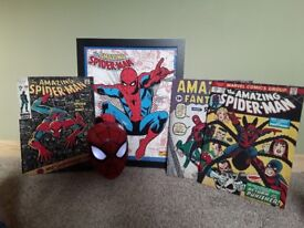 Spiderman wall light and pictures