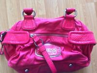 Guess bright pink leather handbag