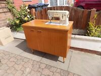 Sewing Machine Cabinet, Teak finish 1960's/70's vintage