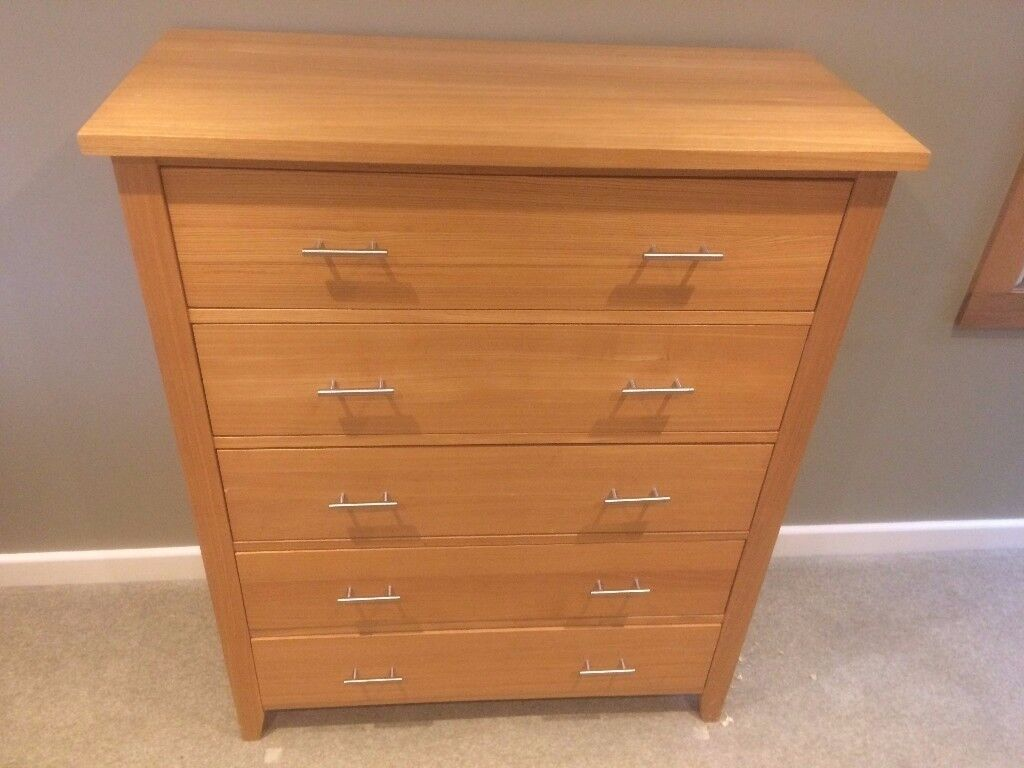 Solid Oak Furniture - 2 Chest of drawers plus Ottoman