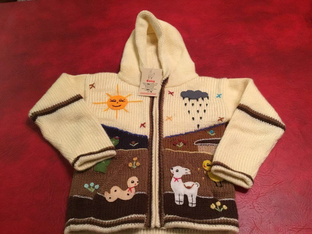 Hand Knitted Hooded Jacket, Age 4 yrs by Cosy BNWT