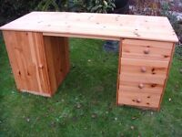 """Large Solid Pine Desk 58"""" wide 24"""" deep Side Drawers & Cupboard easy dismantle put up"""