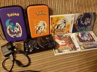 Nintendo 3ds XL limited edition pokemon version with case, charger & 3 pokemon games