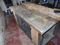 Old school woodwork bench with vice