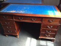 x2 mahogany balmoral pedestal desks, 4ft x 2ft. Needs some repairs. £250 each.