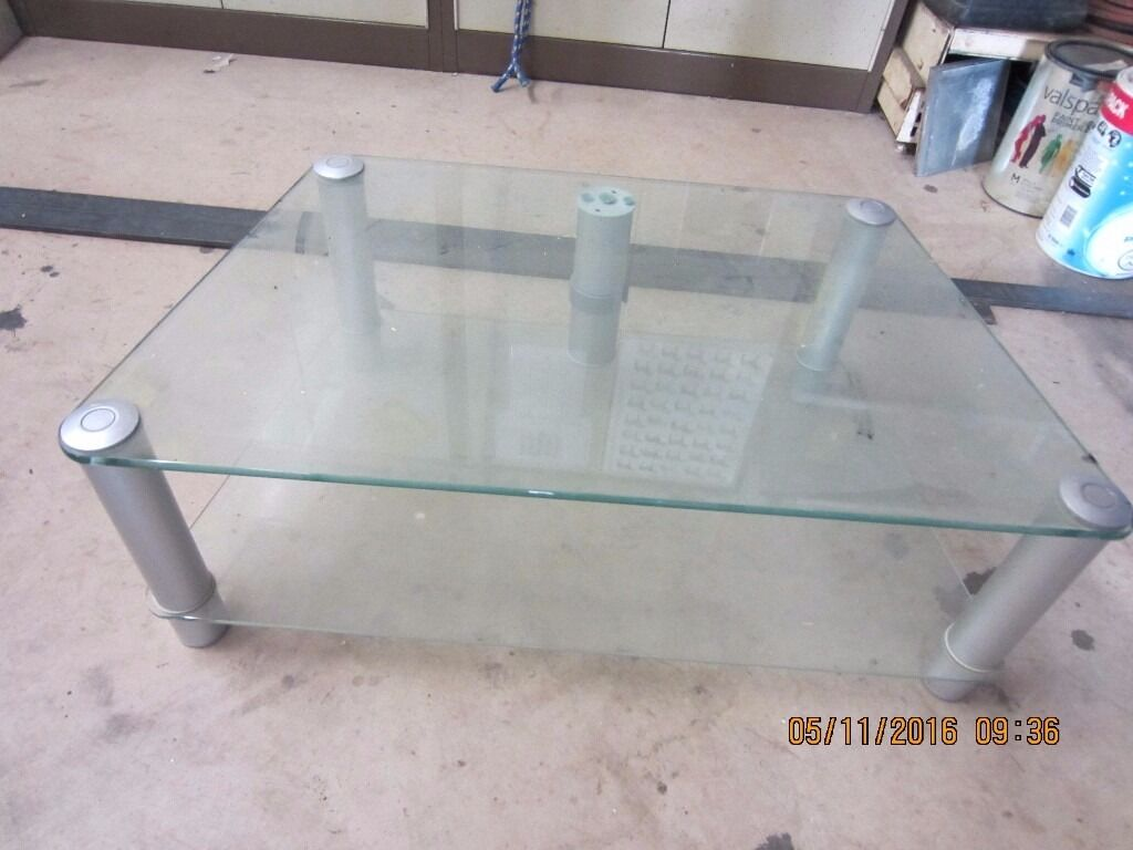 2 Tier Glass TV Stand With Cable Tidy