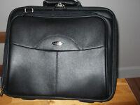 Black genuine leather laptop/briefcase