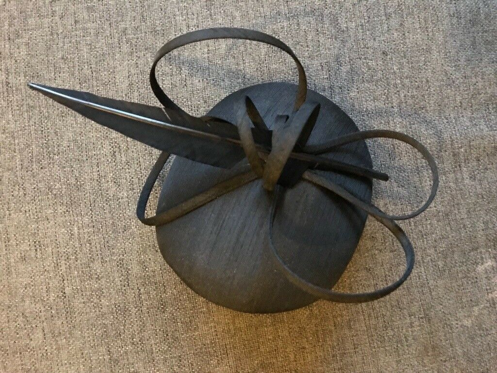 Black pillar box fascinator with feather  376a7720971