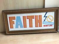 "FAITH DANGER DO NOT LOSE Wall Art Vintage style Print 23"" (58cm) x 10.5"" (27cm)"