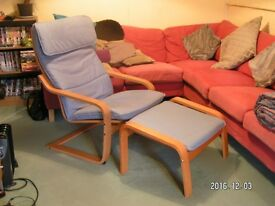 Ikea Poang chair and matching stool. Very good condition.