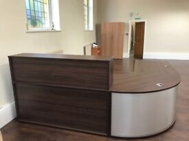 office furniture walnut reception unit