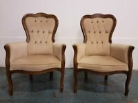 BUTTON BACK ARMCHAIR SET / BEDROOM / FIRESIDE MAHOGANY VICTORIAN STYLE CHAIRS DELIVERY AVAILABLE