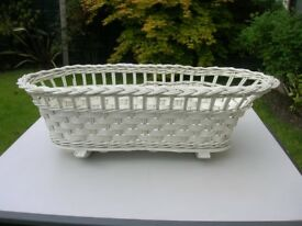 Vintage Dolls Rocking Cradle, white hand-woven wicker with wooden base & rockers, late 1950's