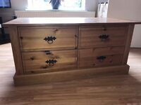 Solid pine coffee table with 4 drawers