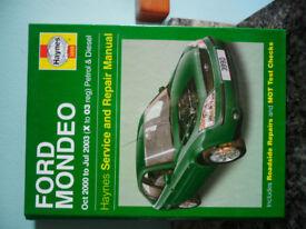 Haynes manual for Ford Mondeo 2000 to 2003 petrol/diesel