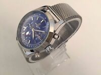 New Breitling Blue dial Open work back Automatic watch