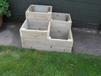 Tiered solid wood planter