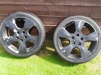"""2 x GENUINE VAUXHALL ASTRA BERTONE 17"""" ALLOY WHEELS & TYRES, IDEAL FOR FITTING WINTER TYRES, FORFAR"""
