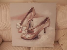 """GIRLIE PICTURE OF SHOES SIZE 24""""X 24"""" NEW CONDITION"""