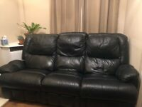 3 seater faux leather sofa with two reclining seats