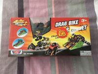 Drag Bike Race Set. Brand new in box.