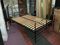 extreme heavy duty black iron double bed frame with wooden slats