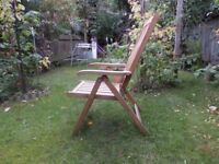Garden Chair, Full Size - Solid Wood, Reclining and fully foldable