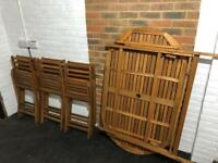 Wooden patio set x6 chairs