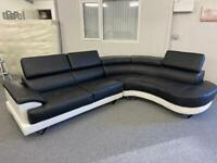 LUXURY BLACK MODERN LEATHER FAUX - CORNER SOFA SUITE