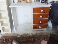 Pine /white painted desk (Knee hole three drawers on right side