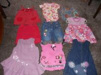 bundle of baby girls clothes, 9-12months, brands are next, disney, tu, mini mode, f & f