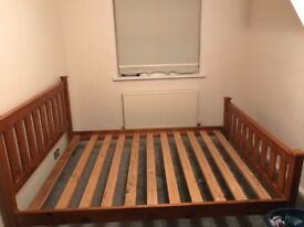 Used Very Sturdy King Size Wooden Bed Without Mattress