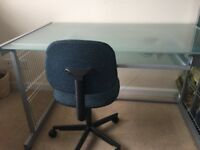 Desk, contemporary glass and metal plus chair all from John Lewis