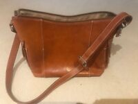 Ladies tan real leather handbag, used but in very good condition