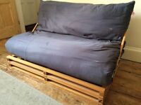 Pine frame double sofa bed
