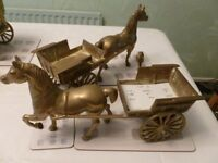 VINTAGE SOLID BRASSHORSE WITH CART (PAIR OF)