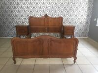 bed and 2 nightstand Oak Louis XV, French style
