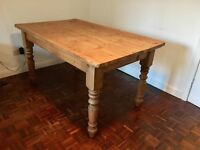 Farmhouse wooden kitchen dining table
