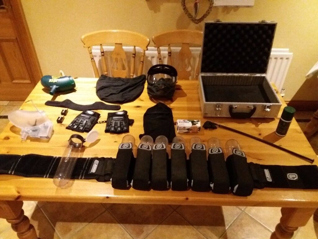 Paintballing accessories and kit.