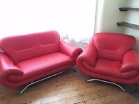 Red Leather Sofa, 2+1 seater