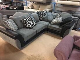 Stunning brand new grey and black corner sofa