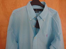 Brand New Ralph Lauren Aqua Green Long Sleeved Shirt Size M