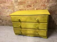Yellow low chest of 3 drawers storage