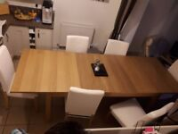 IKEA Bjursta extending oak dining table and 6 chairs (will seat up to 10).