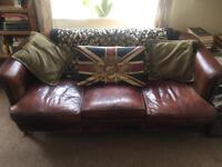 Authentic Vintage Leather Deco Style 3-seat Sofa