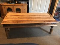 Rustic Wooden Pine Coffee Table With Magazine Rack
