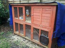 Two storey rabbit hutch, food and accessories